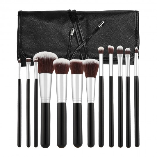 MIMO by Tools For Beauty, 12 Pcs Set 12 Pinceaux A Maquillage Noir