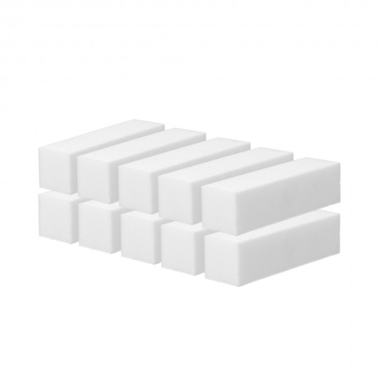 MIMO by Tools For Beauty, Bloc Polissoir 4 Faces Blanc 10 Pcs