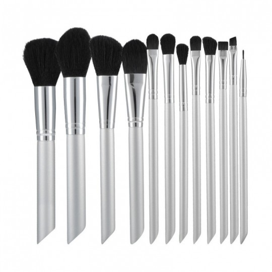 MIMO by Tools For Beauty, Set de 12 pinceaux à maquillage, argent - 1