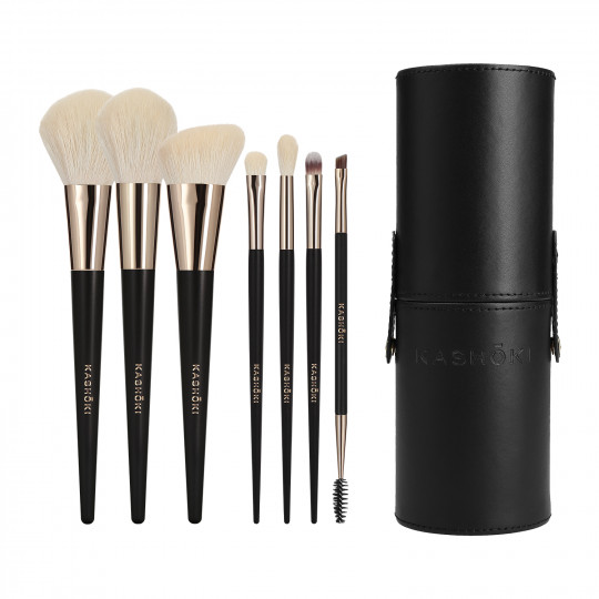 Kashōki Suisen Pinceau de Maquillage avec Tube porte-pinceaux 8 pcs
