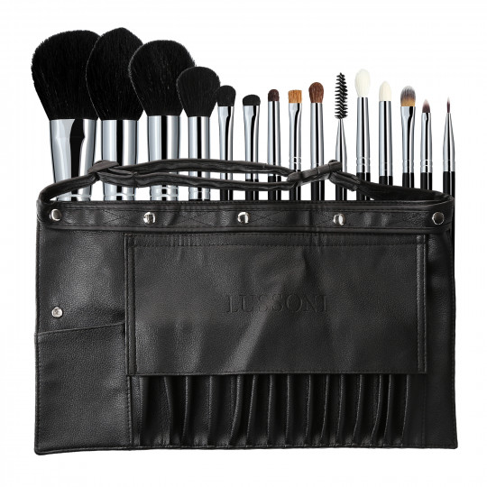 Lussoni Master Kit Set de Pinceaux Professionnel Maquillage avec Ceinture 16 Pcs