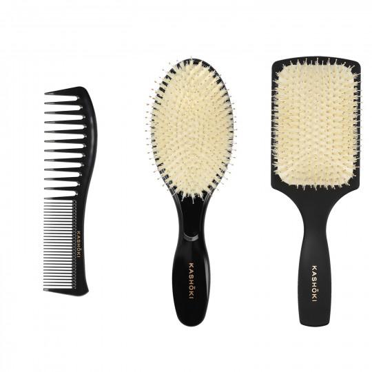 Kashōki by Tools For Beauty, HASU Set pour Styling Cheveux: 1 x Brosse démêlante, 1 x Brosse Ronde, 1 x Peigne - 1