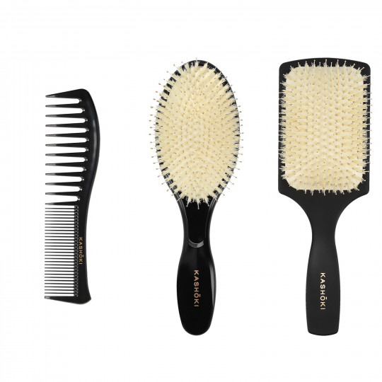 Kashōki by Tools For Beauty, HASU Set pour Styling Cheveux: 1 x Brosse démêlante, 1 x Brosse Ronde, 1 x Peigne