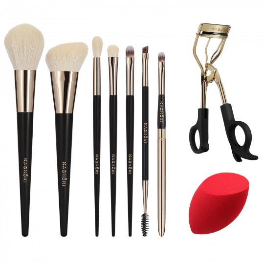 Kashōki by Tools For Beauty, HIMAWARI Set Pinceaux à maquillage 9 pcs avec Recourbe-cils et Eponge Maquillage - 1