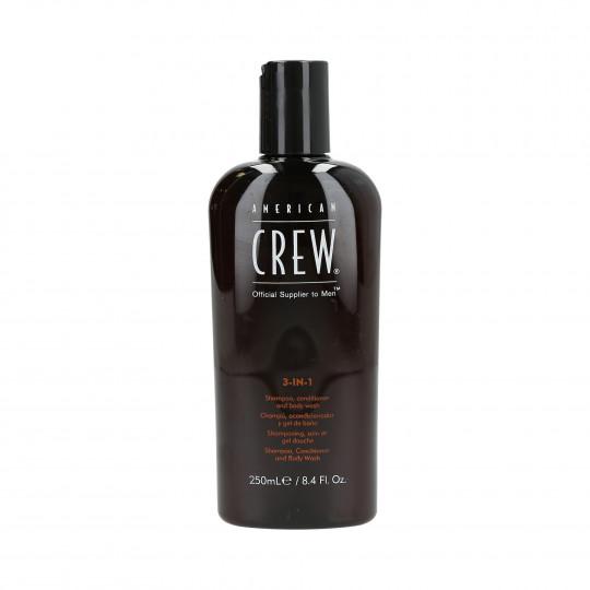 AC CLASSIC 3-IN-1 250MLAMERICAN CREW Shampooing, revitalisant et gel douche 3en1 250ml