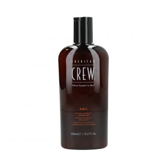 AMERICAN CREW Shampooing, revitalisant et gel douche 3en1 450ml