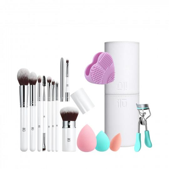 ilū by Tools For Beauty, Set 13 Pcs Pinceaux Maquillage avec Eponges 1 Tube 1 Nettoyeur 1 Recourbe Cils - 1