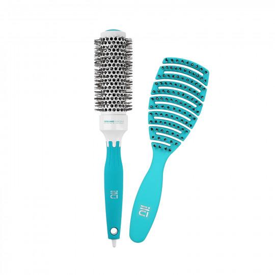 ilū Set 2 Pcs Brosses à Cheveux Turquoise 1 Brosse Démêlante et 1 Brosse Coiffante