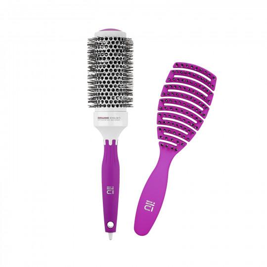 ilū by Tools For Beauty, Set 2 Pcs Brosses Cheveux Violettes 1 Brosse Démêlante 1 Brosse Coiffante - 1