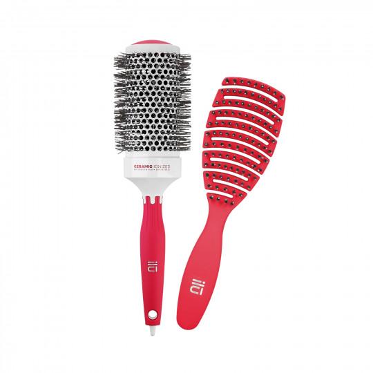 ilū by Tools For Beauty, Set 2 Brosse à Cheveux Rouges 1 Brosse Démêlante et 1 Brosse Coiffante - 1