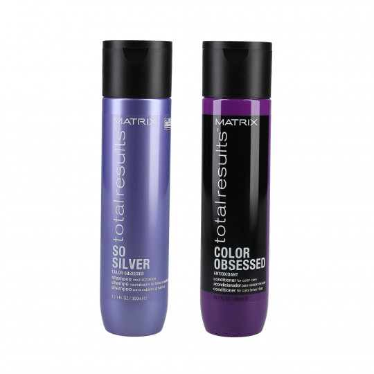 MATRIX TOTAL RESULTS COLOR OBSESSED Set shampooing 300ml + revitalisant 300ml pour cheveux blonds, gris et colorés - 1