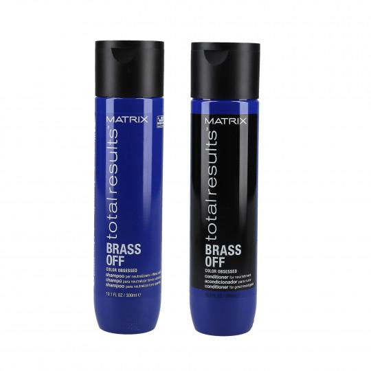 MATRIX TOTAL RESULTS BRASS OFF Set cheveux naturels et colorés, shampooing 300ml + revitalisant 300ml - 1