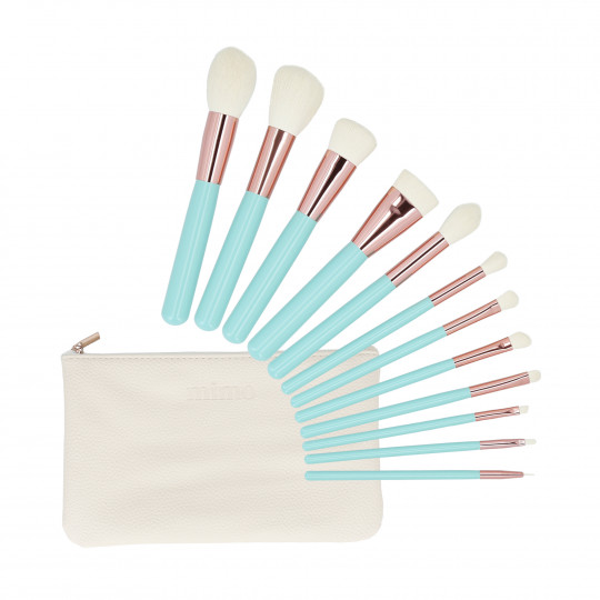 MIMO by Tools For Beauty, Set de 12 pinceaux à maquillage avec étui, Turquoise - 1