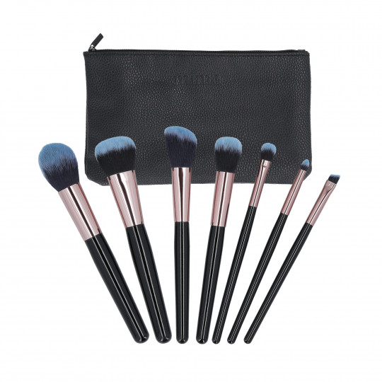 MIMO by Tools For Beauty, Set de 7 pinceaux à maquillage avec étui, Noir - 1