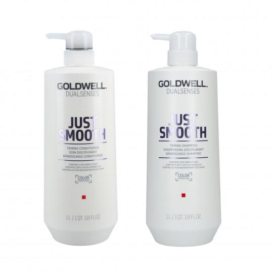 GOLDWELL DUALSENSES JUST SMOOTH Set shampooing 1000ml + revitalisant 1000ml - 1