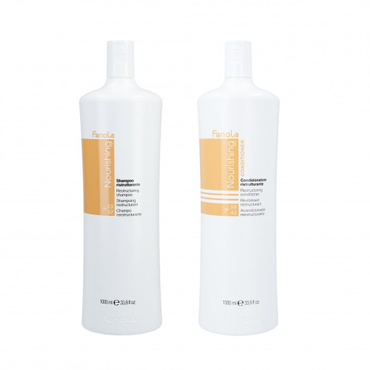 FANOLA NOURISHING Set Cheveux secs Shampoing 1000ml + Revitalisant 1000ml - 1