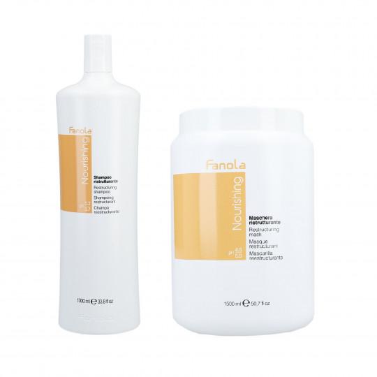 FANOLA NOURISHING Set Cheveux secs Shampoing 1000ml + Masque capillaire régénérant 1500ml - 1