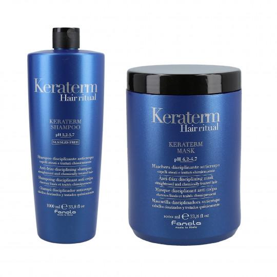 FANOLA KERATERM Set pour cheveux à la kératine, Shampooing 1000ml + Masque 1000ml - 1