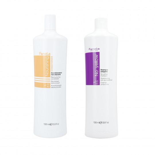 FANOLA Coffret pour cheveux secs et décolorés shampooing 1000ml + revitalisant 1000ml - 1