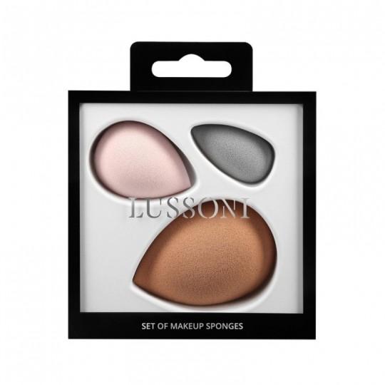 LUSSONI Eponge à Maquillage Set de 3 Nude, Rose, Gris